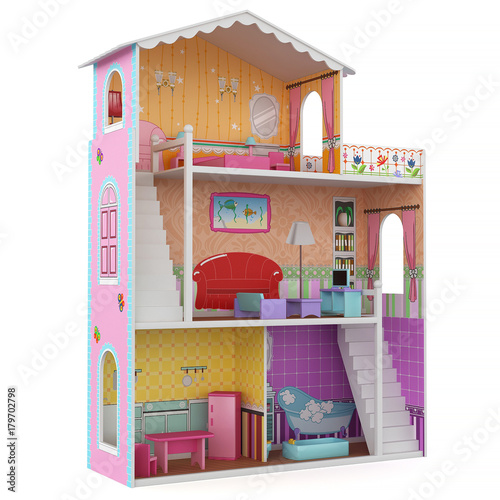 Valokuva 3d Rendering of a doll house on white background