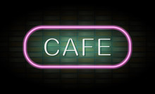 Cafe Neon Sign On Brick Wall