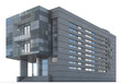 3d Rendering of a Office building on white background.