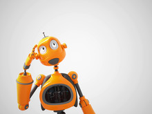 Yellow Cartoon Robot Thinking ...