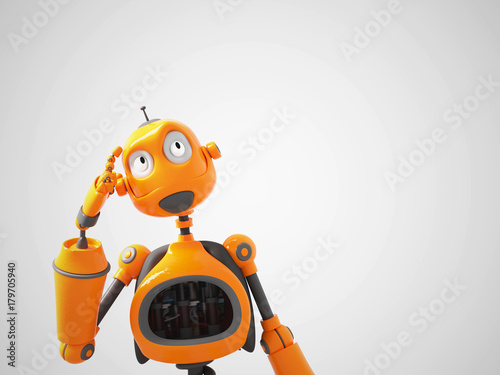 Yellow cartoon robot thinking about something. Wallpaper Mural