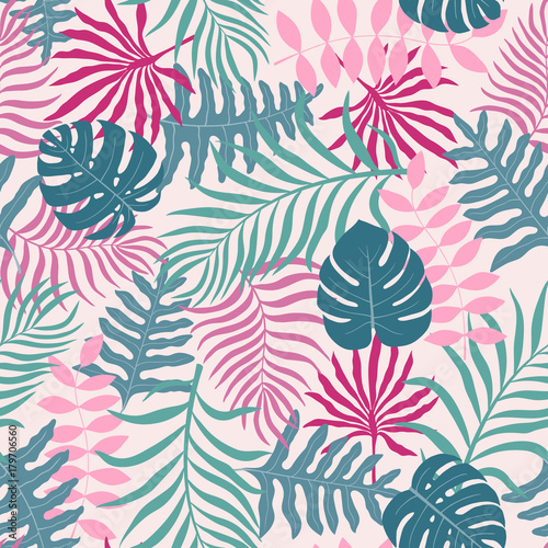 Poster Kunstmatig Tropical background with palm leaves. Seamless floral pattern