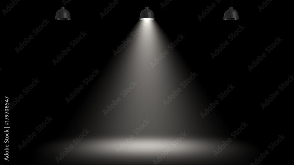 Fototapety, obrazy: 3d rendering of three pendant lamps with only the central one glowing in the darkness.