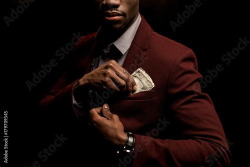 Fototapeta man with dollar banknotes obraz