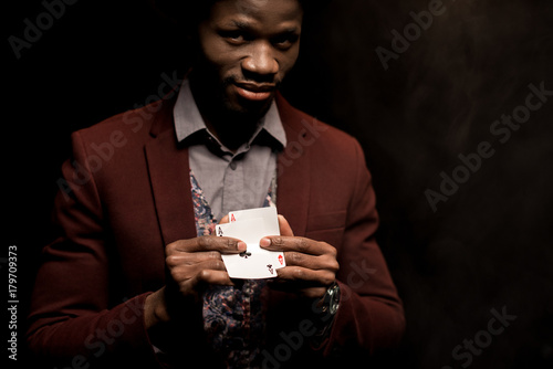 african american man with aces плакат