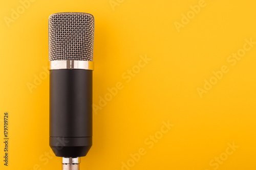 Fotografie, Obraz  Microphone on a yellow background