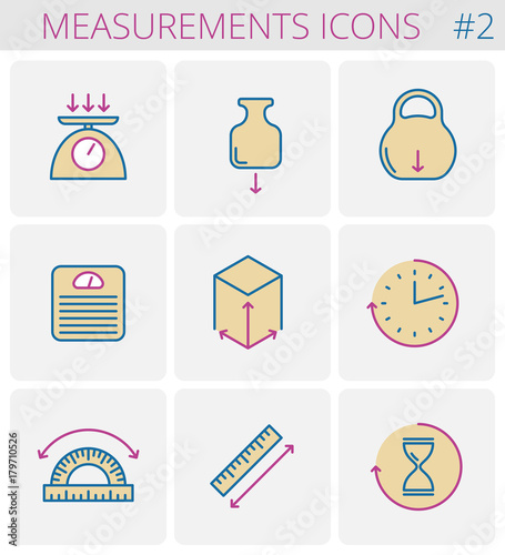 Dimensioneasurements Outline Icon Set Weight Height Width Depth Size Length Angle Time Vector Thin Line Measure Symbols