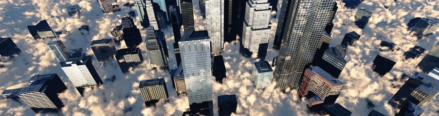 Fototapeta Abstrakcja Skyscrapers in the clouds, a panorama of a modern city in the clouds, banner