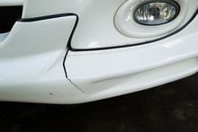 Front Bumper Of A Car Broken And Damage From Accident On The Road