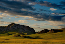 Sunset In The Steppes Of The Altai Mountains