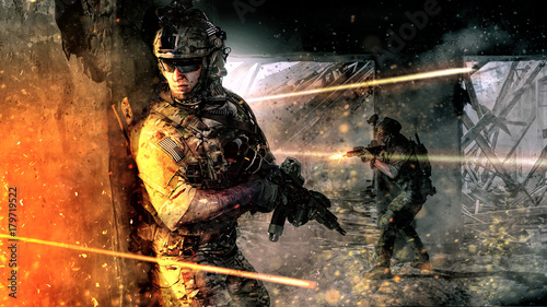 Army soldiers in action in ...