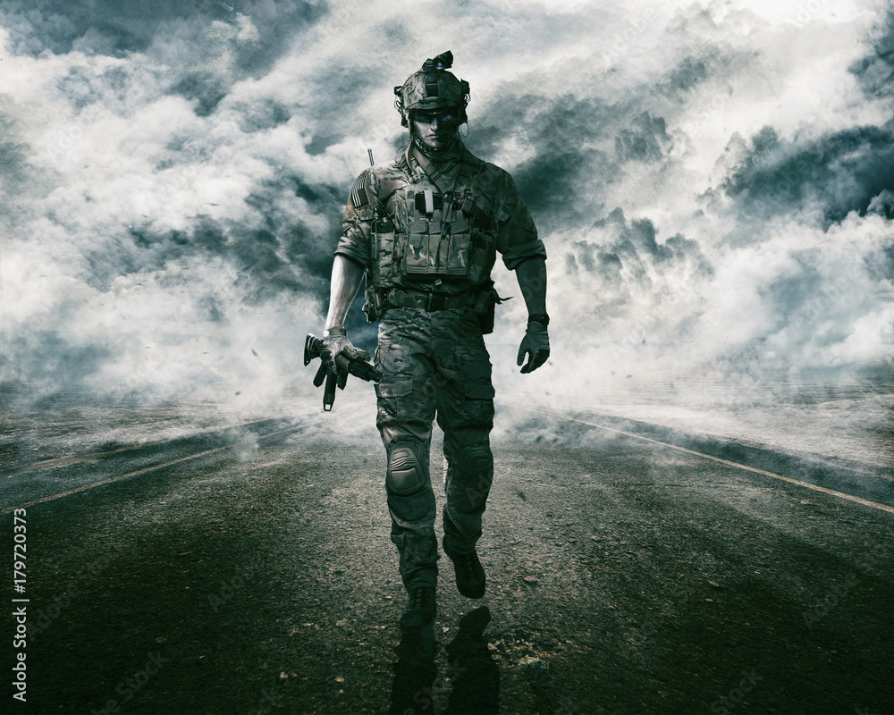 Fototapety, obrazy: Army soldier moving towards camera on cloudscape background