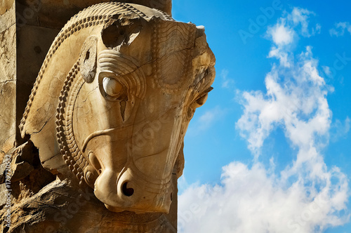 Stone Sculpture Of A Horse In Persepolis Against A Blue Sky With Clouds The Victory Symbol Of The Ancient Achaemenid Kingdom Iran Persia Shiraz Buy This Stock Photo And Explore Similar