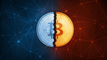 Golden Bitcoin Coin Broken In Half On The Peer To Peer Network Background. Bitcoin Gold Cryptocurrency And Segwit Decentralized Digital Currency Blockchain Hard Fork Concept.