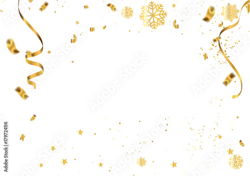 Fototapeta celebration vector illustration of christmas 2018 background with christmas confetti gold and snowflakes obraz na płótnie