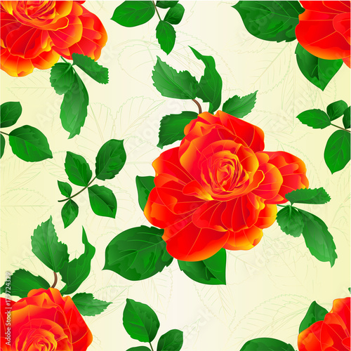 Seamless Texture Stem Flower Orange Rose And Leaves Vintage Vector Illustration Editable Hand Draw Buy This Stock Vector And Explore Similar Vectors At Adobe Stock Adobe Stock