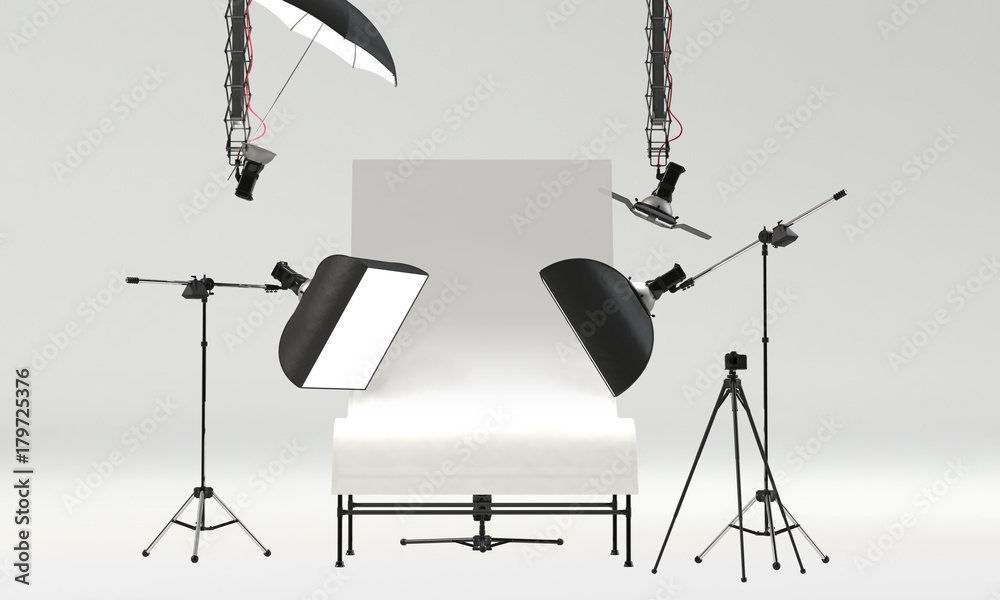Fototapety, obrazy: photo studio with professional pack shot table and lighting equipment. front view, 3D Rendering
