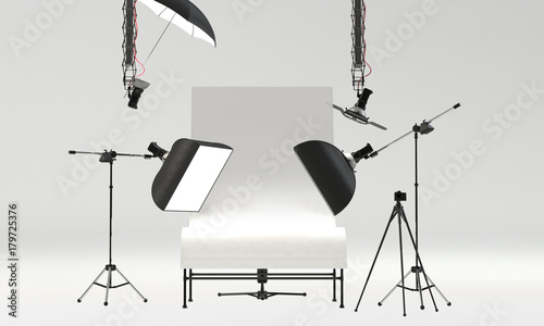 Obraz photo studio with professional pack shot table and lighting equipment. front view, 3D Rendering - fototapety do salonu