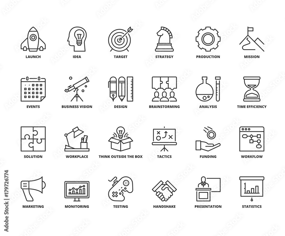 Fototapety, obrazy: Line icons about business process