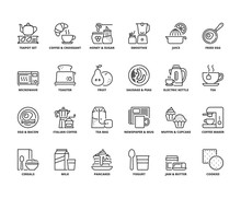 Line Icons About Breakfast