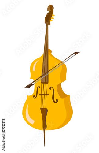 Carta da parati Classic cello with bow vector cartoon illustration isolated on white background