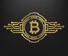 Bitcoin, Abstract Golden Symbo...
