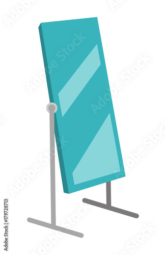 Fotografía Tall large rotating dressing mirror on stand vector cartoon illustration isolated on white background