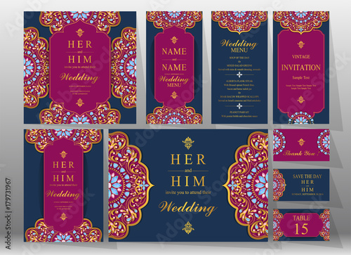 Fototapeta Wedding Invitation Card Templates With Gold Patterned And Crystals On Background Color