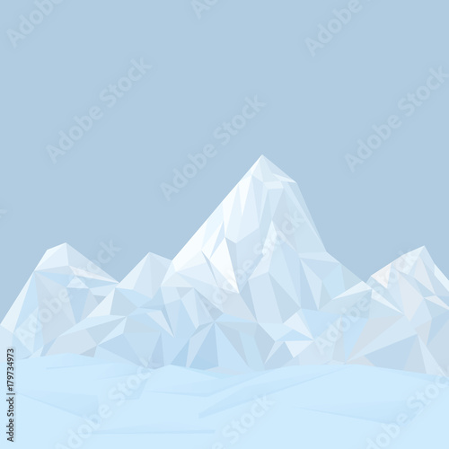 Poster Prune Abstract mountain winter landscape in polygonal origami style.
