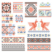 Illustrations Of Traditional Russian Culture. Geometrical Ornament In Ethnic Style