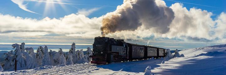 Brockenbahn, panorama pociągu w zimie