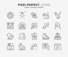 Christmas Thin Line Icons 2