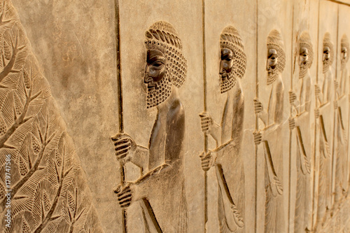 Foto op Plexiglas Artistiek mon. Relief on a wall of the ancient city of Persepolis