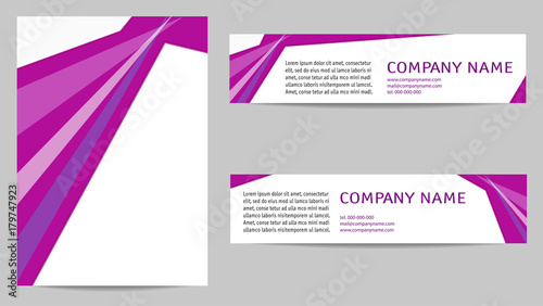 brochure layout a4 and two banners light text space on magenta
