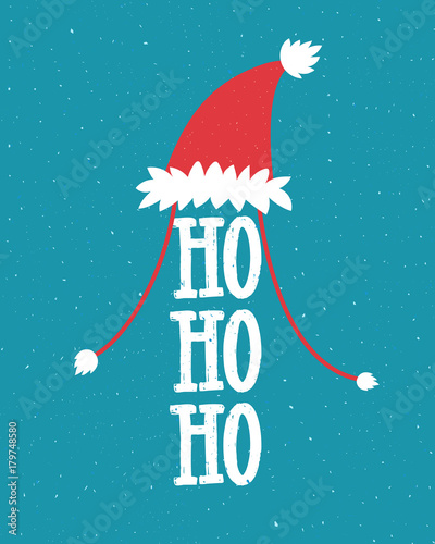 Printed kitchen splashbacks Christmas Funny Christmas illustration with Santa hat and laugh - ho ho ho. Hand lettering on blue background.