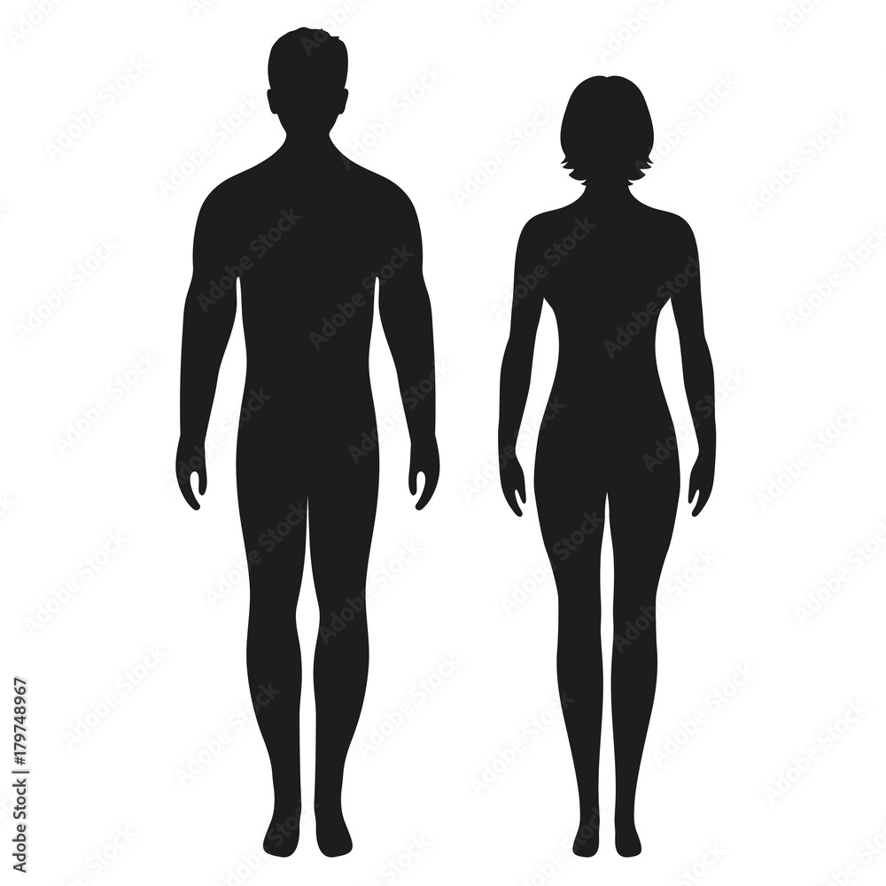 Fototapeta silhouettes of men and women on a white background