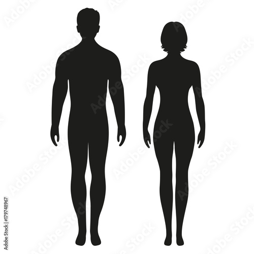 Obraz silhouettes of men and women on a white background - fototapety do salonu