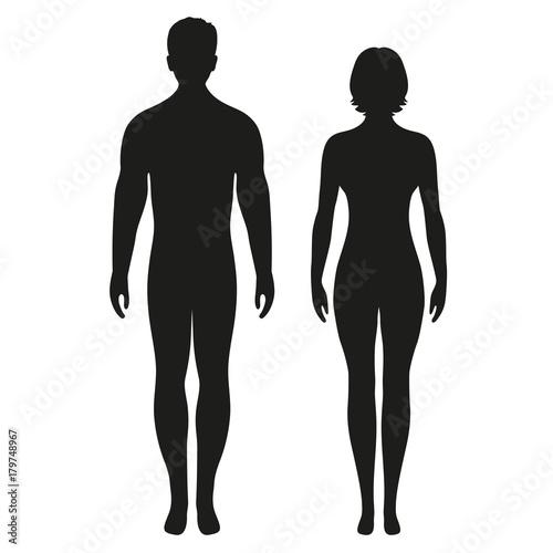 Fototapeta silhouettes of men and women on a white background obraz