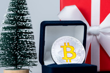 Coin Bitcoin In A Gift Box For Jewelry, Ring. Crypto-currency 2018 Trend. The Best Gift For The Christmas And New Year Holiday