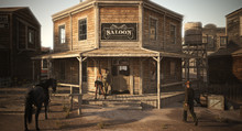 Populated Western Town Saloon ...