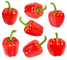 Fresh Pepper Red Bell Set Isolated On White Background With Clipping Path
