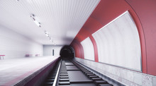 Modern Red Subway Station With...