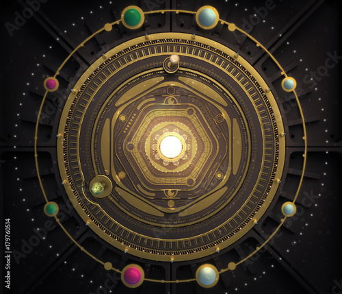 illustration fantasy dieselpunk solar system model astrolabe Steampunk Background Wallpaper Mural