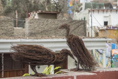 cuervos hechos en alambre oxidado Canvas Print