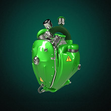 Diesel Punk Robot Techno Heart. Engine With Pipes, Radiators And Glossy Green Metal Hood Parts.  Isolated