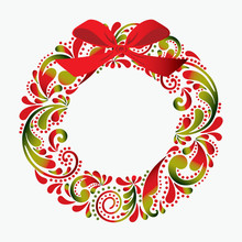 Christmas Wreath Made From A Flower Pattern. Print. Isolated Object. Card. Icon.