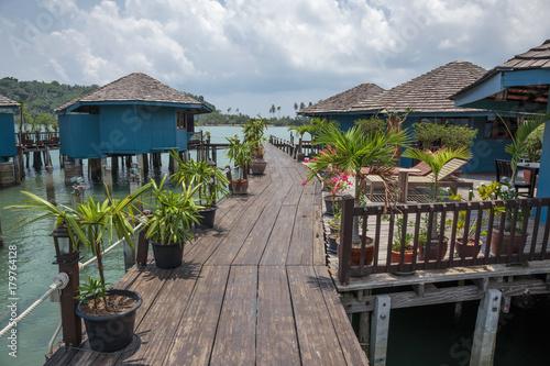 Fototapeta Houses on stilts in the fishing village of Bang Bao, Koh Chang, Thailand obraz na płótnie
