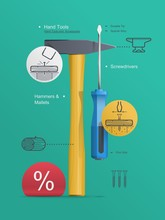 Tools Infographic, Hammert And...