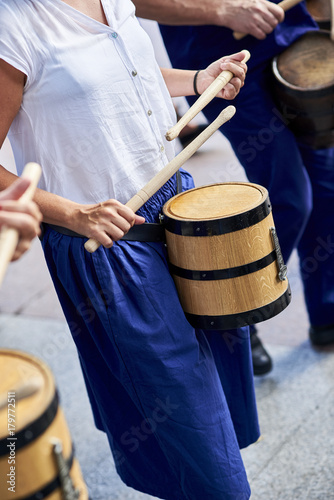 Citizens drumming in Tamborrada, the drum parade to