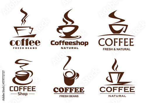 Vector coffee cups icons for coffeeshop cafe